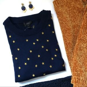 J. Crew Tippi Sweater in Embroidered Stars NWT